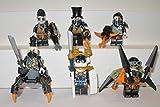 6 Lego Ninjago Drachenjäger Schurken Figuren Ninja Figur Eisen Baron Samurai X Heavy Metal Jet Jack Nitro Beinloser Jäger mit Waffen Zubehör und Ausrüstung