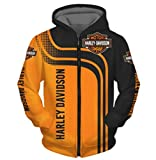 Cronell Story Unisex Langarm Hoodie 3D Digital International H.a.r.l.e.y Davidson Logo Print Sweatshirt Lässiges Sweatshirt (1,XL)