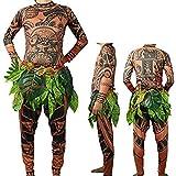 """Beauty GO Maui-Kostüm aus dem Film """"Moana"""", T-Shirt und Hose mit Tattoo-Muster und Blätterrock, Halloween, Erwachsene, Cosplay-Kostüm, braun, S"""