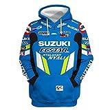 Cronell Story Unisex Spring Langarm Hoodie 3D Digital International Suzuki Logo Print Sweatshirt Lässiges Sweatshirt (1,XL)