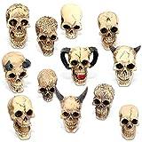 mtb more energy [12er Set] Deko Totenkopf ''Hell's Army'' - Verzierte Totenschädel Sammelfiguren - Höhe 4-6cm - Figur Dekoration Horror Fantasy