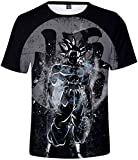 FLYCHEN Herren 3D Druck T-Shirt Anime Kurzarm Dragonball Kakarotto Super Son Goku Cosplay T-Shirt (L (Tag XL),Goku821)